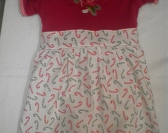 Christmas Embroidered Candy Cane T-Shirt Dress with Matching Bloomers - Size 4