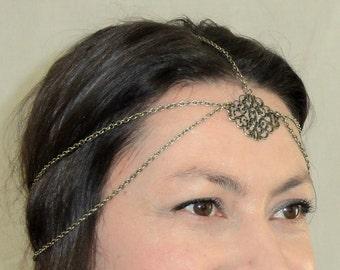 Bohemian headchain, Boho head jewelry, Boho chic head piece, Gypsy head chain, Chain headpiece, Bronze headpiece