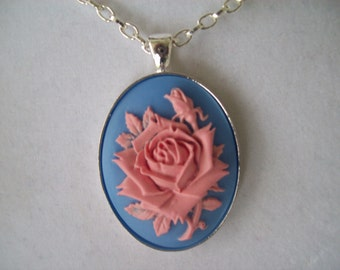 Pink and Blue Rose with Rosebud Cameo Pendant