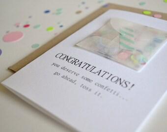 congratulations card, funny congratulations card, funny celebration card, graduation card, congratulations confetti card