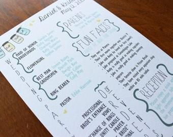Mason Jar Fun Facts Wedding Program - Color Customizable