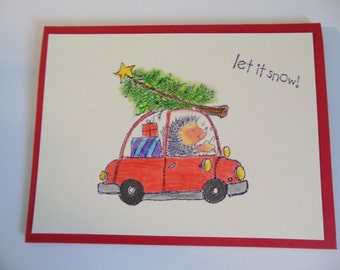 Hedgehog Christmas Card, Cute Christmas Card, Non Religious Christmas Card, Animal Lover Holiday Card, Let it Snow Card