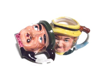 Two Small Vintage Toby Mugs. Creamer