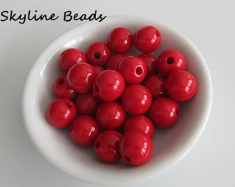 24 Red Opaque Round Acrylic Beads - 12mm