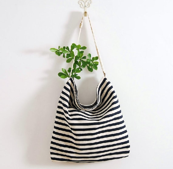 handmade Navy Striped cotton bag canvas bag women man bag shoulder bag tote bag shopping bag Book bag Beach bag Diaper Bag