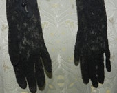 BARGAIN SALE - Vintage  - Long Gloves - Black - Lace - Size Extra Small Small -   English Fashion