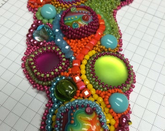 SOLD. Colorful Bead Embroidery Collar
