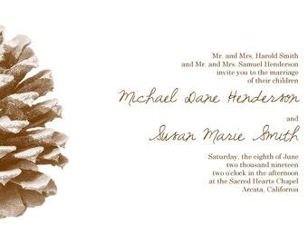 "Pinecone Wedding Invitation 5""x7"" Custom Digital Card & RSVP Postcard"