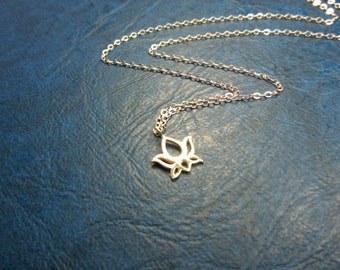 Necklace silver lotus bud charm- Sterling silver pendant- Tiny lotus bud necklace