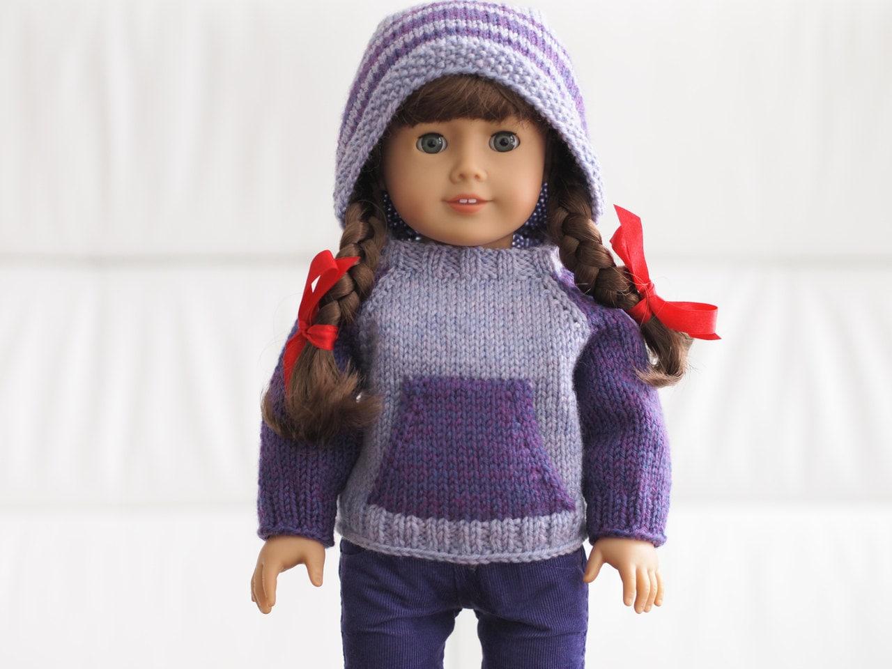 Knitting Pattern For Dolls Hoodie : Kangaroo Campfire Hoodie Knitting Pattern for 18 Inch Dolls