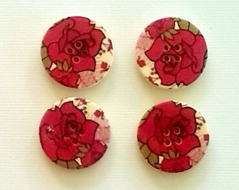 SALE 4 pack of 30mm Red Rose wooden buttons