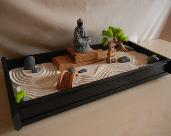 Large Desk Top Zen Garden With Solid Oak Stand And Wooden