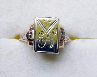 Art Deco 10k two tone white and yellow gold ring with monogram size 5