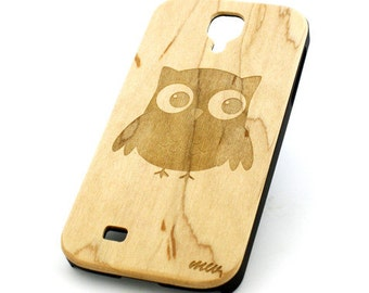 W30 Real Wood W Plastic Case Cover For Samsung Galaxy S4 Cute Owl