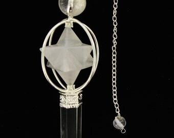Crystal Quartz Pendulum Big Mercaba and quartz Point