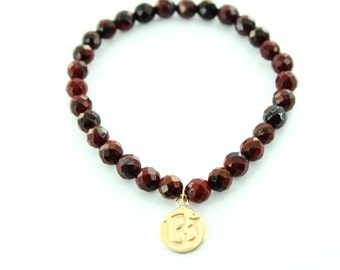 Jasper Breciated Faceted Bracelet,  with Gold Plated Over Silver .925 Om Pendant (11mm)
