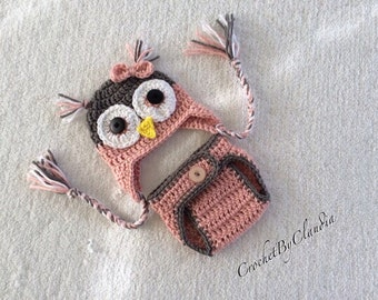 Crochet Pink and Grey Baby Girl Owl Beanie and Diaper Cover Photo Prop Set