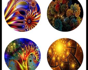 Flower Fractals - Fractal Images - Flower Prints - Digital Downloads - Collage Sheets - 30mm Pendants - 30mm Jewelry - Bottlecaps - DDP431