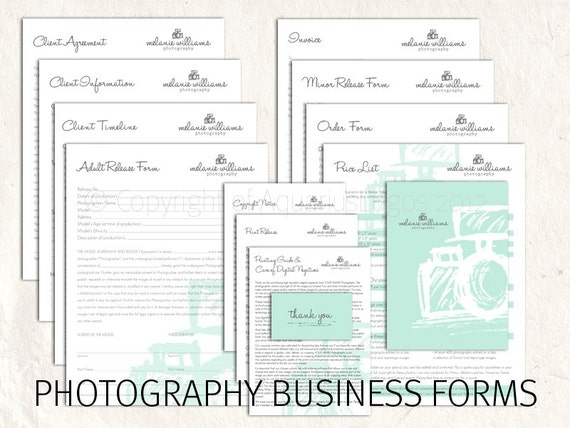 photography business forms kit mint grey sketch camera style