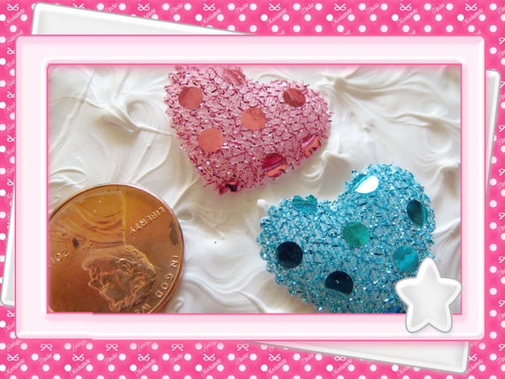 0: )- CABOCHON -( Glitter Hearts Puffies Pink & blue