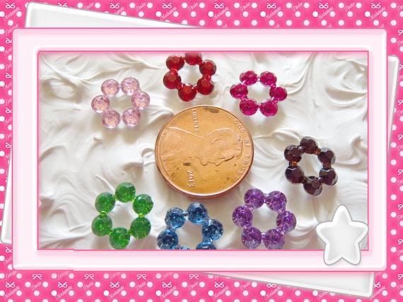 0: )- CABOCHON -( 6 Point Rhinestone Gem Hot Pink, Pink, Red, Purple, Green, Blue