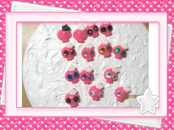 0: )- CABOCHON -( SKULLS ~PINK Different Eyes Gothic Monster