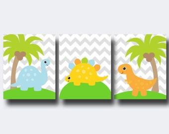 Dinosaur Nursery Wall Art Prints, Nursery Prints, Baby Boy Dinosaur Nursery Wall Art Print Bedroom Decor - N590,591,592