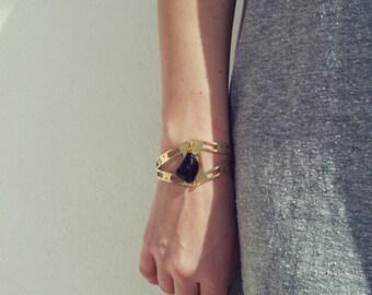 Raw Brass Cuff Bracelet With Black Natural Stone, Bohemian Bracelet, Festival Bracelet, Gift for Her