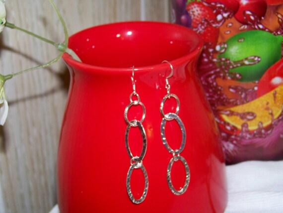 Earrings - Metal Silver Ovals, Hammered Metal