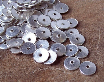 Handmade High Quality Silver Plated Disk Beads 8 mm, 20 pcs