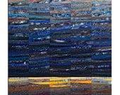 Quilted wall art. Landscape art. Abstract textile art. Modern quilt. OOAK. Moonlight. Fiber art. Modern home decor. Art quilt. Contemporary.
