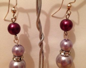 Purple Pearl Dangle Earrings