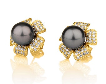 Diamond Pearl Earrings, 18K Yellow Gold Earrings, Black Tahitian Pearl, Evening Jewelry