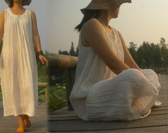 135---Women's Trapeze Gathered Linen Maxi White Dress, A-line, Sleeveless,Made to Order.