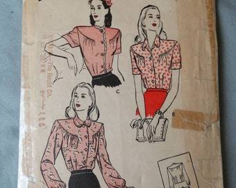 1940s Butterick Pattern #3475 Round Yoke Blouse with Broad Shouldered Look Size 30 Bust