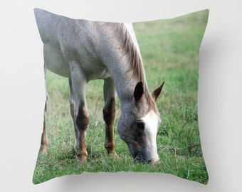 White Horse in Field, Pillow Cover, 16x16,18x18,20x20,home decoration, green, white,rustic, farm, equestrian, landscape, country living,