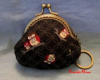 Handmade Owl Print Black Coin Purse Coins Bag Small Pouch (6.5cm)