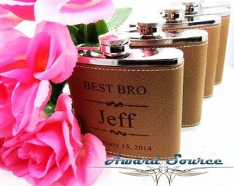 Groomsmen Wedding Gift 5 Leather Flask Set, Engraved Flask, Flask Leather Wrapped, Best Man Gift
