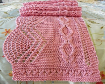 "Pattern to Knit Lace Scarf ""Cherry Blossoms""  PDF download"