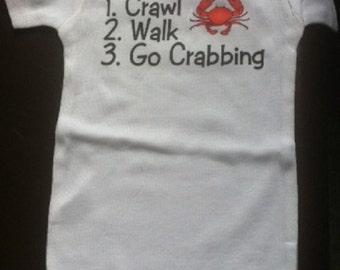 Crabbing baby shirt, crabb one piece, infant crab bodysuit, i love to go crabbing, future crabber, crabby baby, funny crab  shirt