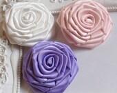 3 pcs ribbon roses applique RE-002-07