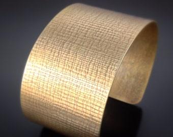 Bronze Cuff Bracelet - rolling mill textured