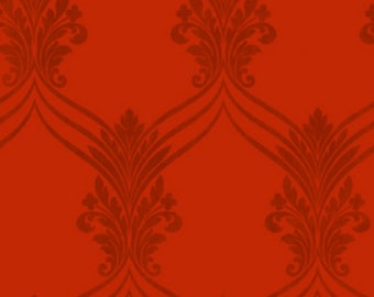 Regal Red Chandelier Swag Damask - Victorian Decor, Traditional, Tonal, Scroll - Wallpaper By The Yard - SD25683