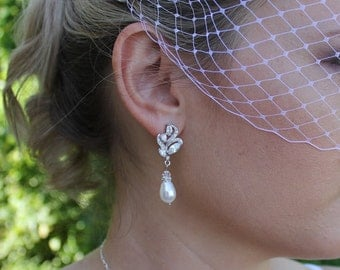 Crystal Rhinestone Bridal Earrings, Crystal and Pearl Bridal Earrings, Swarovski Pearl Bridal Wear, Wedding Jewelry Bridesmaid Earrings