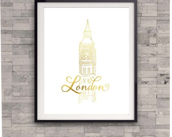 London Gold Foil Print, Travel Wall Art Print, Big Ben Print,