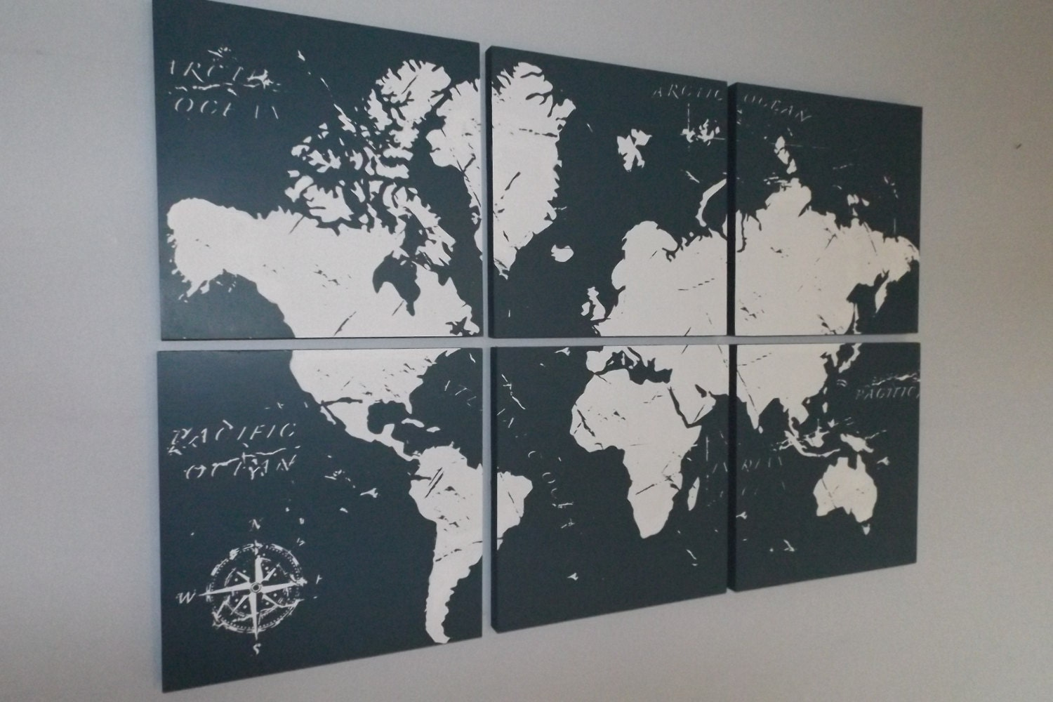 vintage world map screen print wood painting wall art on. Black Bedroom Furniture Sets. Home Design Ideas