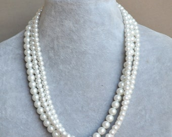 ivory pearl Necklace,Glass Pearl Necklace, Triple Pearl Necklace,Wedding Necklace,bridesmaid necklace,Jewelry