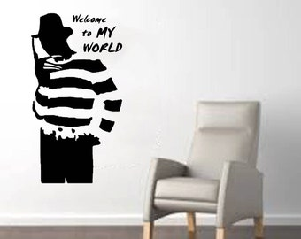 "Freddy from Nightmare on Elm Street Welcome to My World Halloween Wall Decal (22""w x 41""h)"
