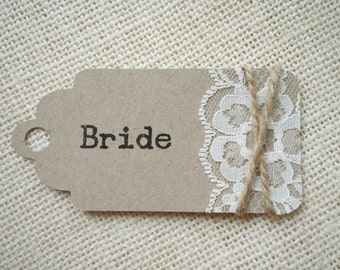 9cmx4cm Rustic Lace, String & Recycled Card Tag, Perfect for Wedding Place Cards