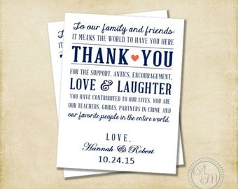 Wedding Thank You Note, Welcome Bag, Wedding Favor, Hotel Gift Bag, Navy Coral Wedding Nautical Wedding DIY Wedding (Printable Download)